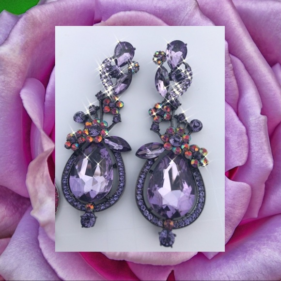 crystal earrings bridal jewelry Lavender pearl earrings prom jewelry holiday jewelry